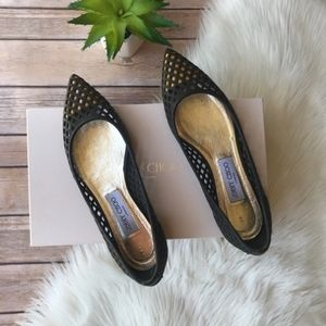 AUTH. Jimmy Choo Black Gianna Pointed Toe Flats 38